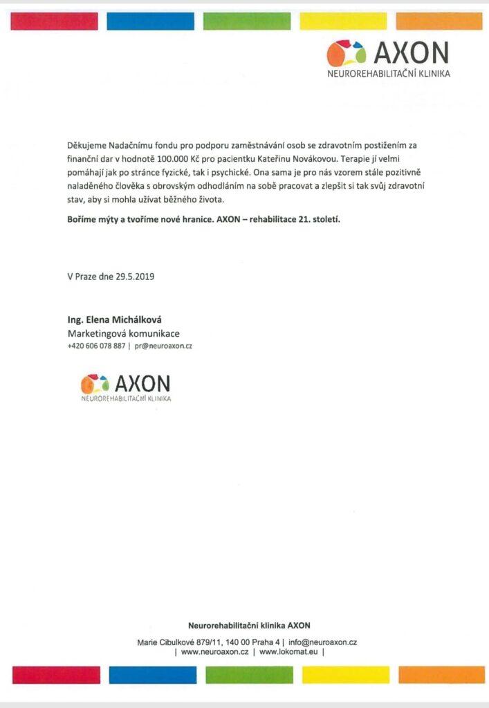 Poděkování z Axonu