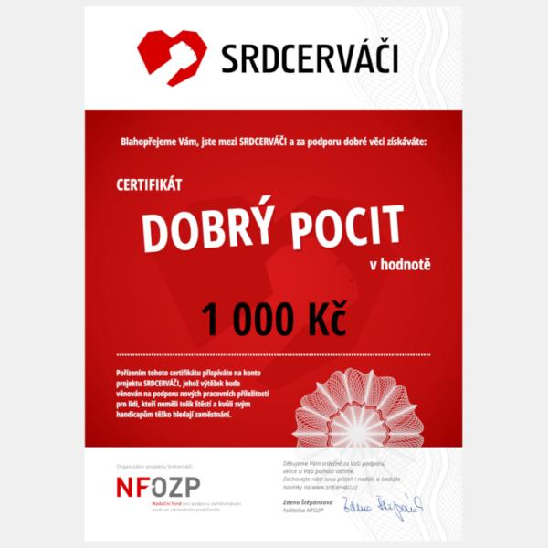 Certifikát Dobrý pocit - 1000 Kč
