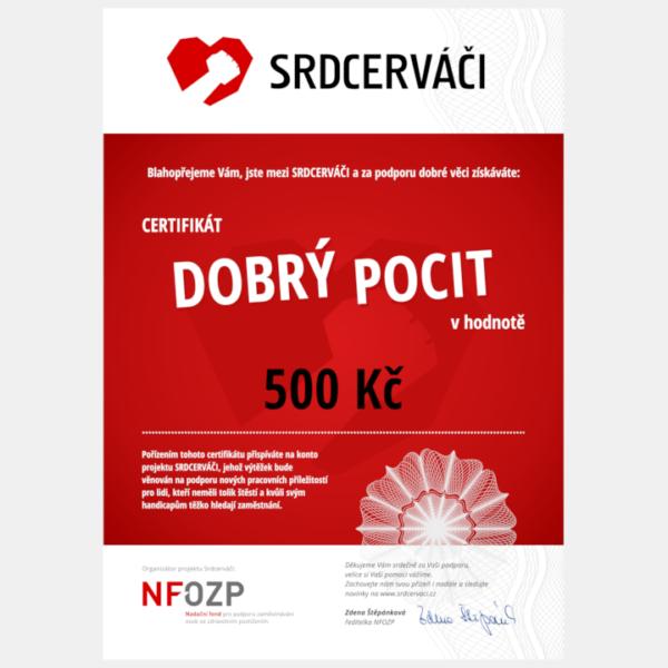 Certifikát Dobrý pocit - 500 Kč